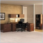 Bush Quantum Wood Corner Desk Set with Hutch in Harvest Cherry