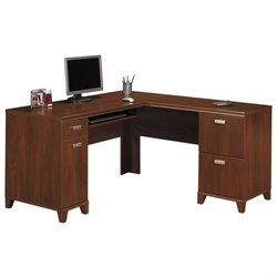 Bush Tuxedo L-Shape Wood Computer Desk in Hansen Cherry