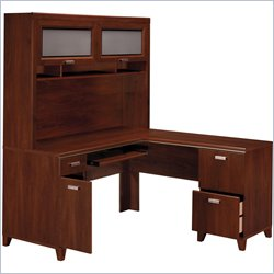 Bush Tuxedo L Desk Home Office Set with Hutch in Hansen Cherry