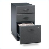Bush Series A 3 Drawer Mobile Wood Filing Cabinet in Slate