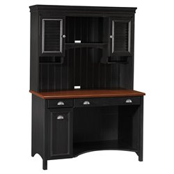 Bush Stanford Computer Desk with Hutch in Antique Black