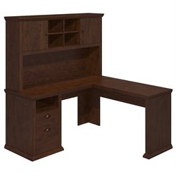 Bush Yorktown L Shaped Writing Desk with Hutch in Antique Cherry