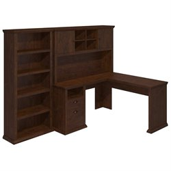 Bush Yorktown L Shaped Writing Desk with Hutch and Bookcase in  Cherry