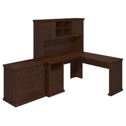 Bush Yorktown L Shaped Writing Desk with Hutch and File in Cherry