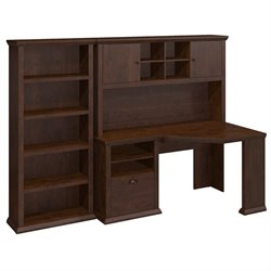 Bush Yorktown Corner Writing Desk with Hutch and Bookcase in Cherry