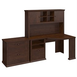 Bush Yorktown Corner Writing Desk with Hutch and File in Cherry