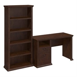 Bush Yorktown Writing Desk with Bookcase in Antique Cherry