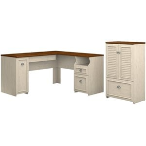 Bush Fairview L Shaped Desk and Storage Cabinet in Antique White