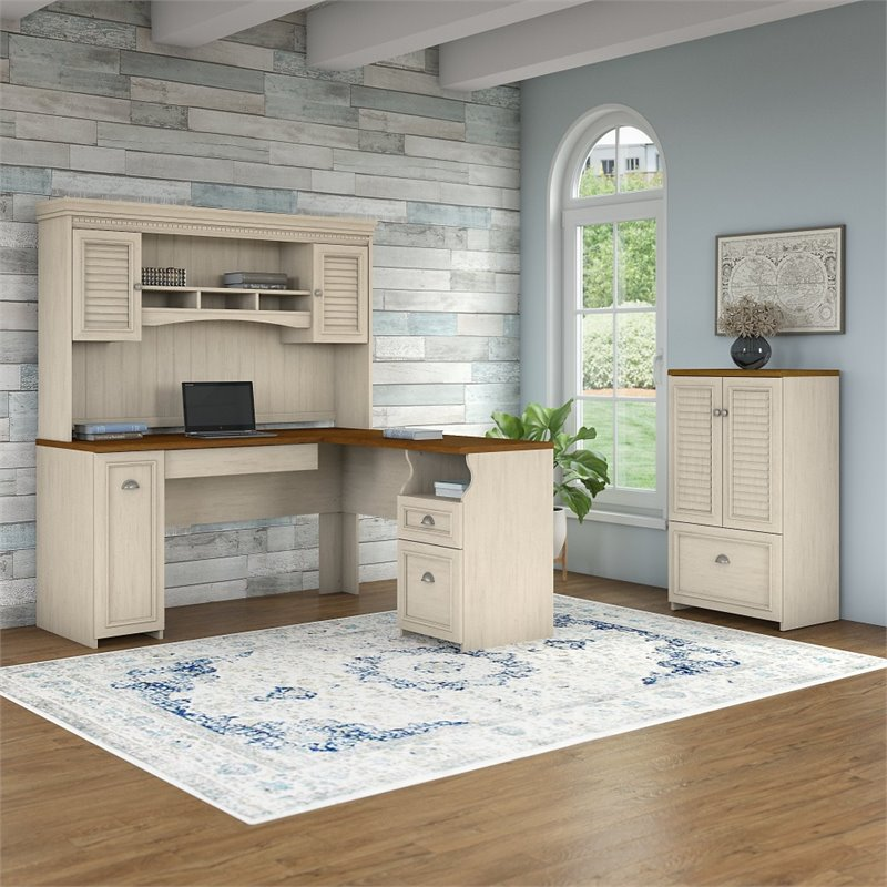 Bush Fairview L Shaped Desk with Hutch and Cabinet in Antique White