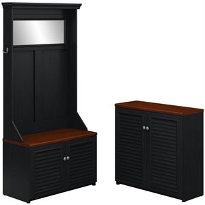 Bush Fairview Hall Tree and Cabinet in Antique Black