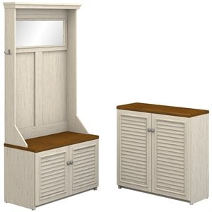 Bush Fairview Hall Tree and Cabinet in Antique White