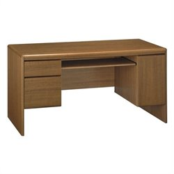 Bush Northfield Wood Credenza Computer Desk in Dakota Oak
