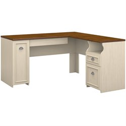Bush Fairview L-Shape Wood Computer Desk in Antique White and Tea Maple