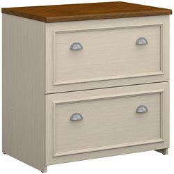 Bush Fairview 2 Drawer Lateral File Cabinet in Antique White and Tea Maple