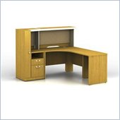 Bush Quantum Modern Cherry Administrative Configuration with Reception Desk and Hutch