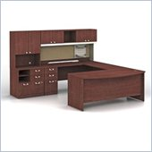 Bush Quantum Left Facing Wood U-Shaped Desk in Harvest Cherry