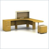Bush Quantum Right L-Shaped Desk with Hutch in Modern Cherry