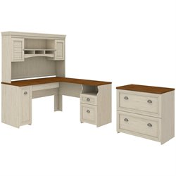 Bush Fairview L-Shape Wood Computer Desk Set with Hutch in Antique White