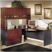 Bush Corner L-Shape Office Desk Set with Hutch in Hansen Cherry