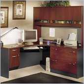 Bush Corner L-Shape Wood Home Office Set with Hutch in Hansen Cherry