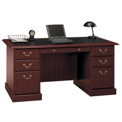 Bush Saratoga Executive Home Office Wood Managers Desk in Cherry