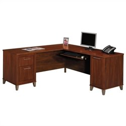 Bush Somerset 71 L-Shape Wood Desk in Hansen Cherry