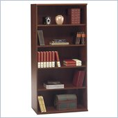 Bush Series C 5 Shelf Wood Open Double Bookcase in Hansen Cherry