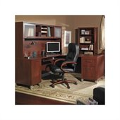 Bush Somerset L-Shape Wood Office Set with Hutch in Hansen Cherry