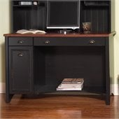 Bush Stanford 48 Wood Computer Desk with Audio Rack and File Cabinet in Antique Black and Hansen Cherry