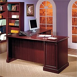 Bush Saratoga L-Shape Executive Desk with Bookcase in Cherry