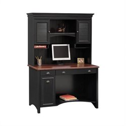 Bush Stanford Wood Computer Desk With Hutch in Black