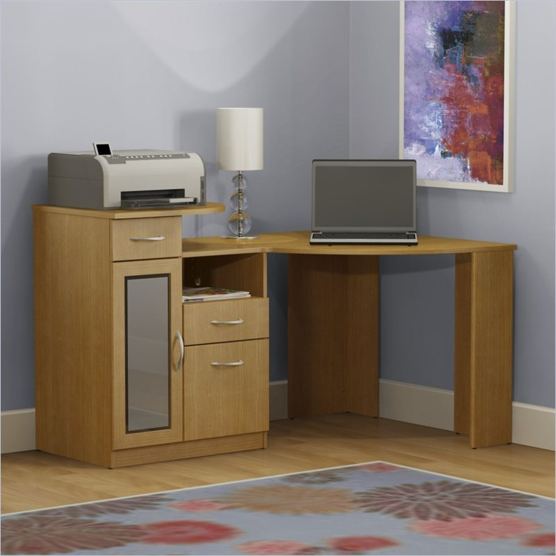 Bush Furniture Vantage Corner Home Office Wood Light Dragonwood Computer Desk