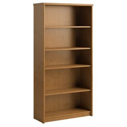 Bush Envoy 5 Shelf Wood Bookcase in Natural Cherry