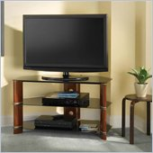Bush Segments Wood Corner TV Stand in Rosebud Cherry