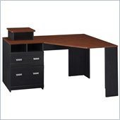 Bush Wheaton Reversible Wood Corner Desk in Antique Black and Cherry