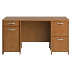 Bush Envoy Double Pedestal Wood Desk in Natural Cherry