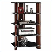 Bush Audio Rack with 4 Glass Fixed Shelves and Back Wire Access