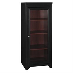 Bush Furniture Stanford Audio Cabinet with 2 Adjustable Shelves, Glass Door, in Black and Cherry