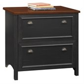 Bush Stanford Collection 2 Drawer Lateral File Wood Storage Cabinet in Antique Black and Cherry
