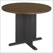 Bush Round 3.4 Conference Table with X-Shaped Base in Sienna Walnut