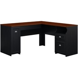 Bush Fairview L-Shaped Wood Computer Desk in Black