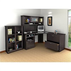 Bush Cabot 4 Piece L-Shaped Computer Desk Office Set in Espresso Oak