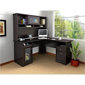 Bush Cabot L-Shape Computer Desk with Hutch in Espresso Oak
