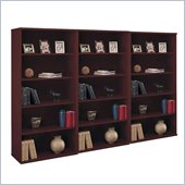 Bush Series C 5 Shelf 3 Piece Wall Bookcase Set in Mahogany  
