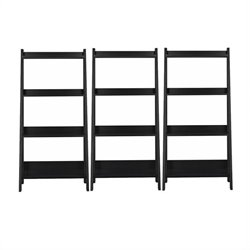 Bush Alamosa 4-Shelf Ladder Wall Bookcase in Black