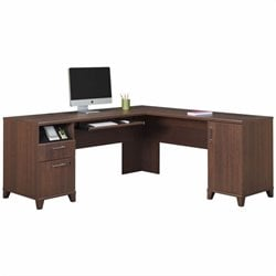 Bush Achieve L Shaped Desk in Sweet Cherry