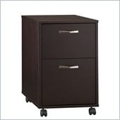 Bush Canted Style 2 Drawer Rolling Pedestal in Macchiata Finish