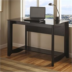 Bush Aero Glass Top Desk in Classic Black