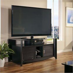 Bush Aero TV Stand with Glass Top Shelf in Classic Black Finish