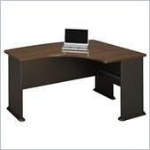 Bush Series A Right L-Bow Desk in Sienna Walnut/Bronze